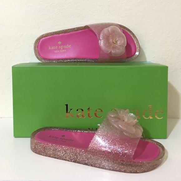 glitter jelly slide sandals